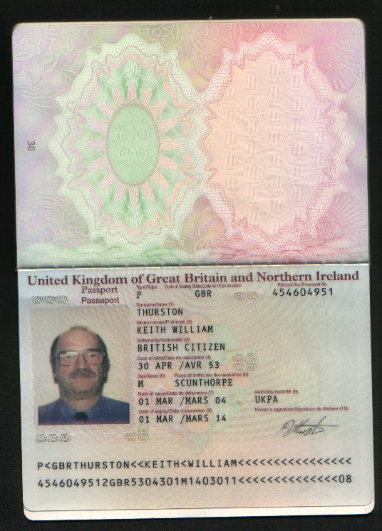 My Passport Details keith thurston
